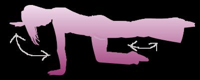 Avsluta övningarna med att lyfta upp och sträcka ut vänster ben, och höger arm. Tänj lite, i yttersta läget.