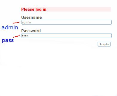 """Börja med att logga in i appen """"yourls"""", genom att ange användarnamnet """"admin"""", och lösenordet """"pass""""."""