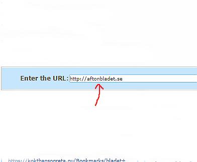 """Skriv den webbadress (URL) som du vill länka till, i rutan """"Enter the URL:"""". I detta exempel har vi valt tidningen Aftonbladet (http://aftonbladet.se)."""