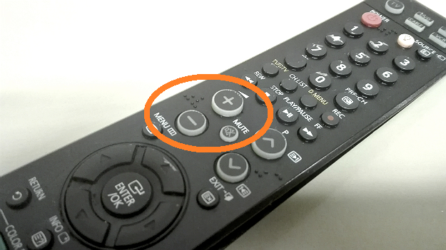 Volume buttons on a Remote control