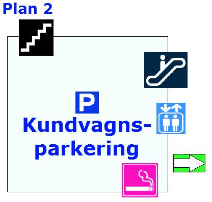 På plan två finns en kundvagnsparkering