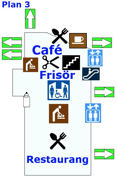 Café, restaurang och frisör hittar man på plan tre !